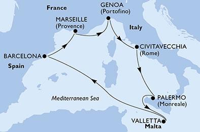 luna-de-miel-crucero-mediterraneo-msc-itinerario